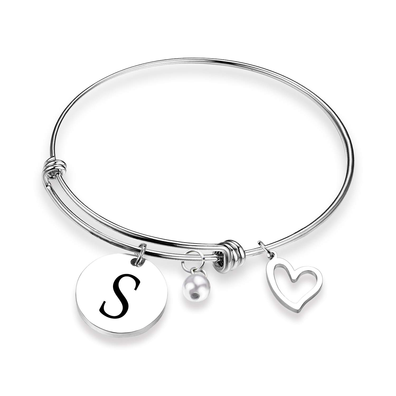 EIGSO Initial Bracelet Letter Bracelet with Heart Charm Memory Bracelet Jewelry Gift for her (BR-S) …
