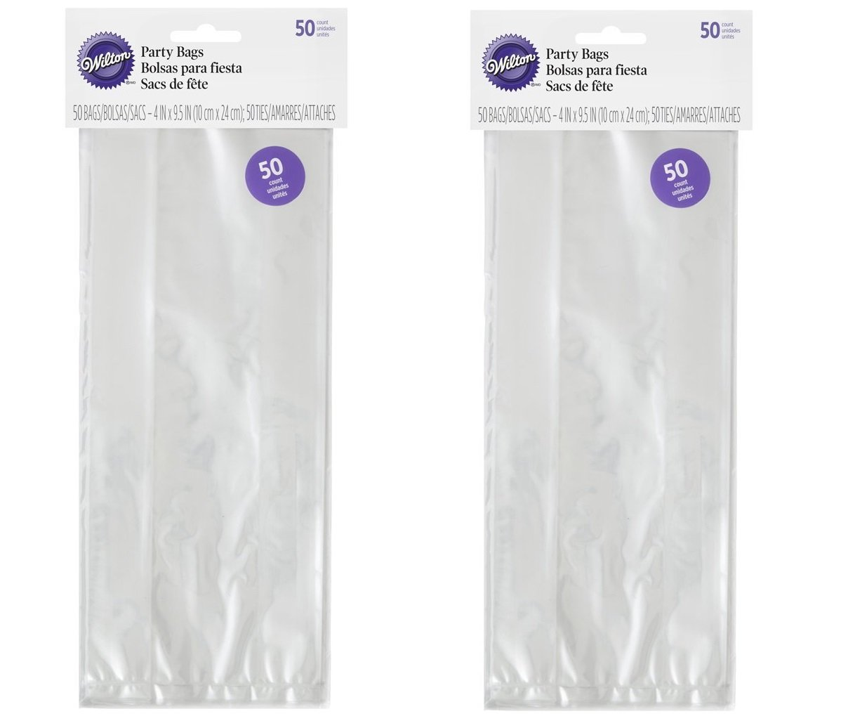 Wilton Party Bags, 4 by 9.5-Inch, Clear,(2 packs of 50)
