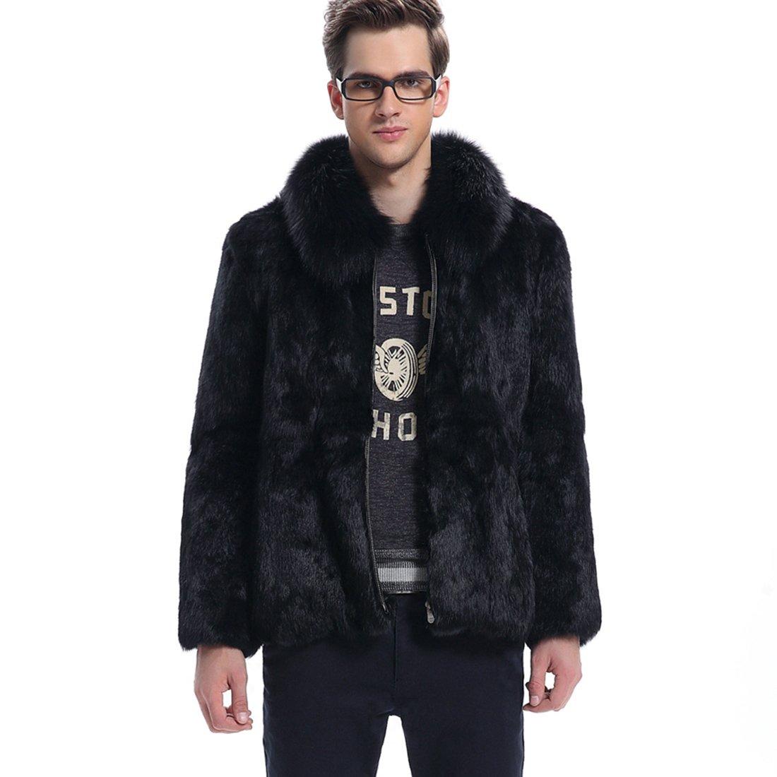 ManyFurs Men's fur coat top rabbit fur male genuine fur jacket whole rabbit fur
