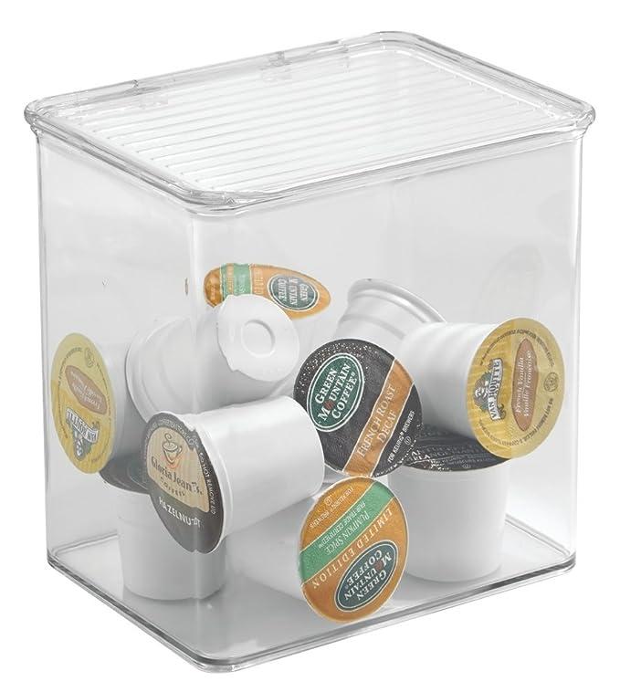 mDesign Caja organizadora de plástico - Caja con Tapa abatible ...