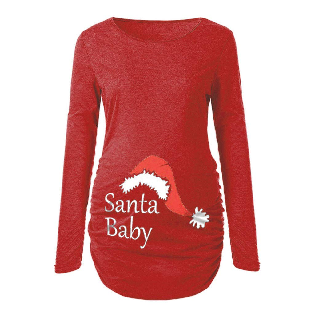 Bestoppen Pregnancy Xmas T Shirt, Women's Santa Print Maternity Jumper Long Sleeve Crewneck Side Ruched Christmas Pregnancy Clothes Pregnancy Announcement T Shirt Size 8-16 ✿ Style:Casual Fashion Women' s Tops