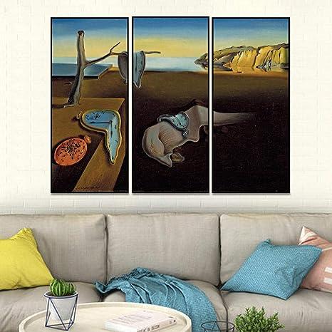 Qianlei Salvador Dali Surrealisme Peinture Abstraite Temps Art Vintage Affiche Photos Accueil 40x80cmx3pcs Sans Cadre Amazon Fr Cuisine Maison