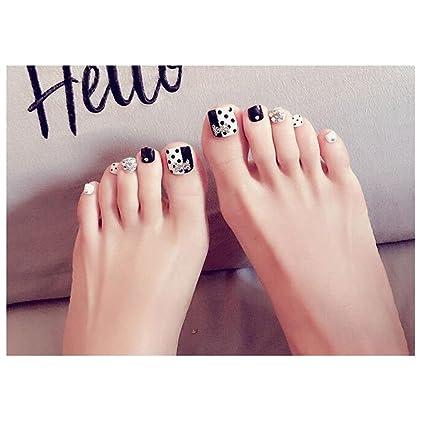 Amazon Com Luckyshd Shiny Black Finished Toe Nails Holo Silver