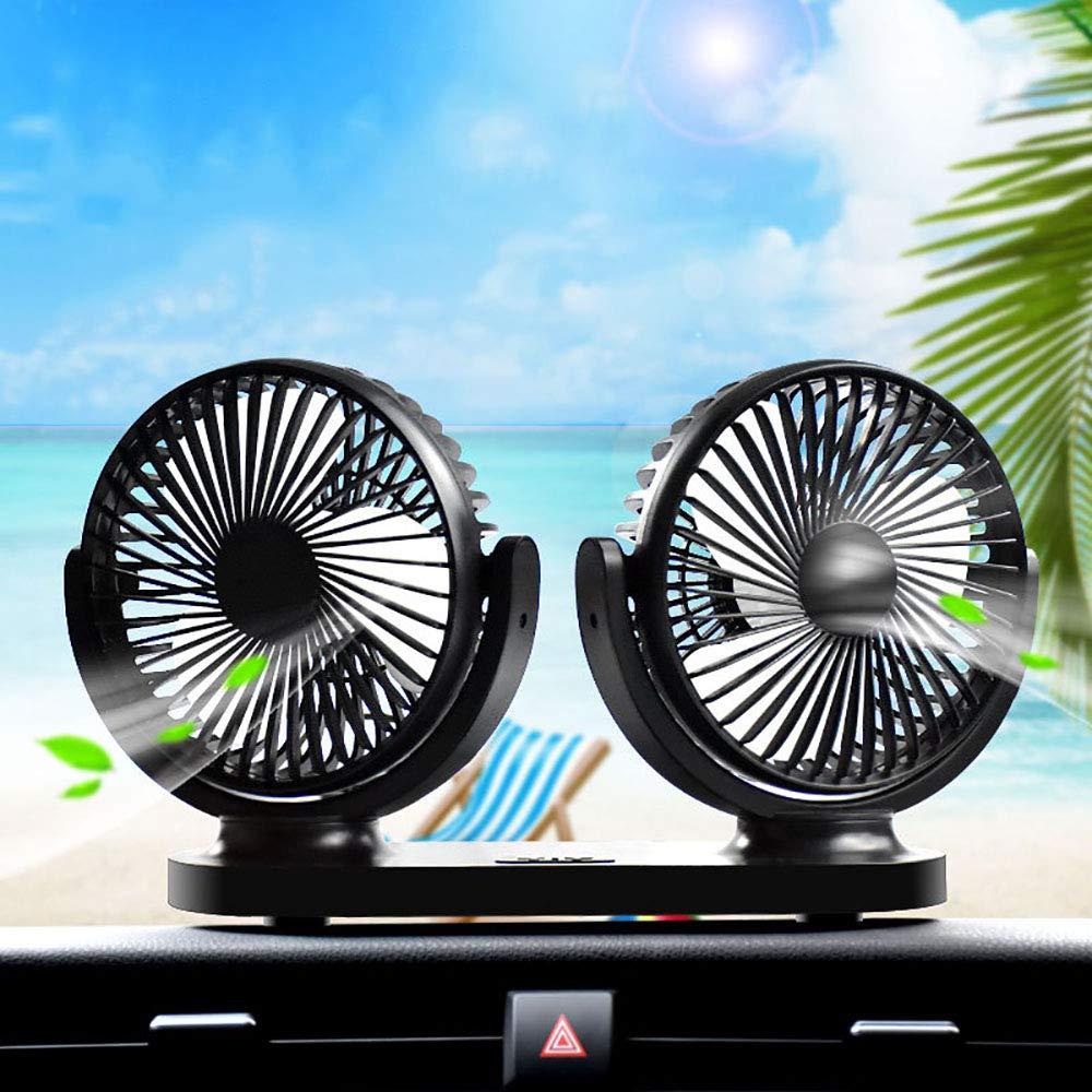ZHL Car Fan, 12V USB Electric Car Fan 180 Degree Rotatable Dual Head 3 Speed Quiet Summer Cooling Air Circulator,A