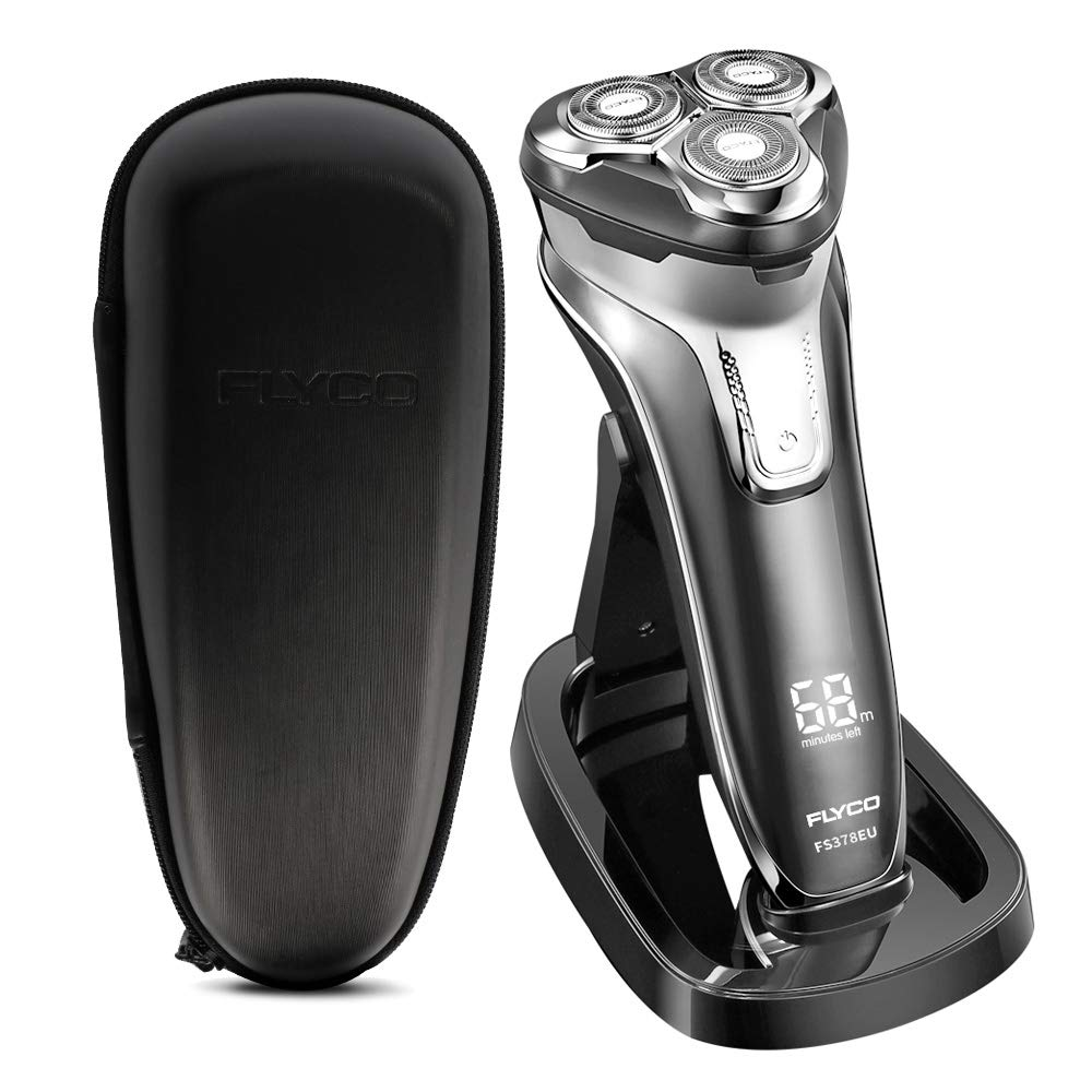FLYCO Men's Electric Shaver FS378EU, Wet & Dry, USB Quick Rechargeable Electric Razor with Precision Beard Trimmer and Intelligent Reminder, Light Grey