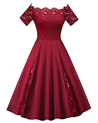 09b4ceb6d7 GAMISS Women's Vintage Off Shoulder Cocktail Dress Plus Size Floral Lace  Dress Short Sleeve (S-5XL)
