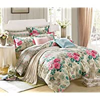 Ahmedabad Cotton 144 TC Cotton Bedsheet with 2 Pillow Covers, Multicolour