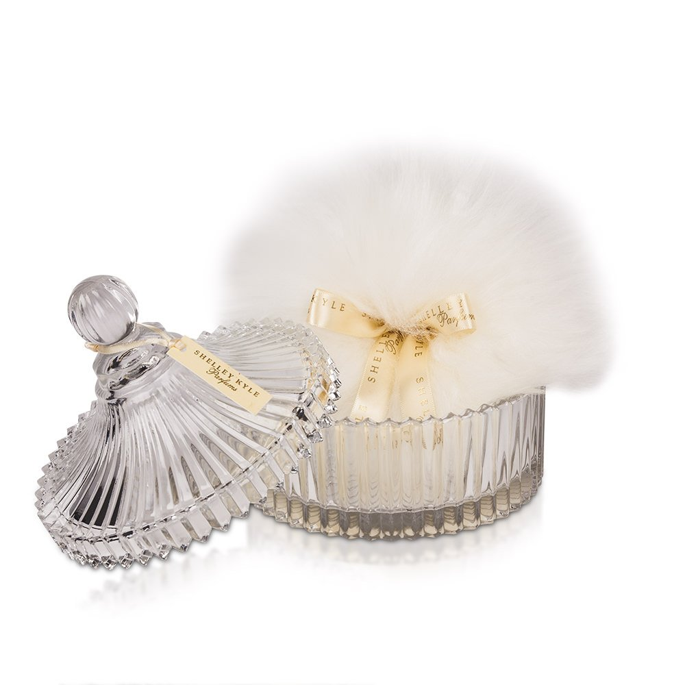 Shelley Kyle Large Powder Puff with Crystal Dish