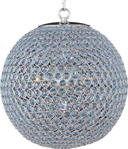 Maxim 12755WTPN Rondo Crystal Glass Ball with Fabric Shade Chandelier, 5 Light 300 Watts, 21