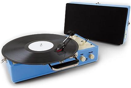 Auna Nostalgy Buckingham Tocadiscos maletín Retro AUX Azul ...