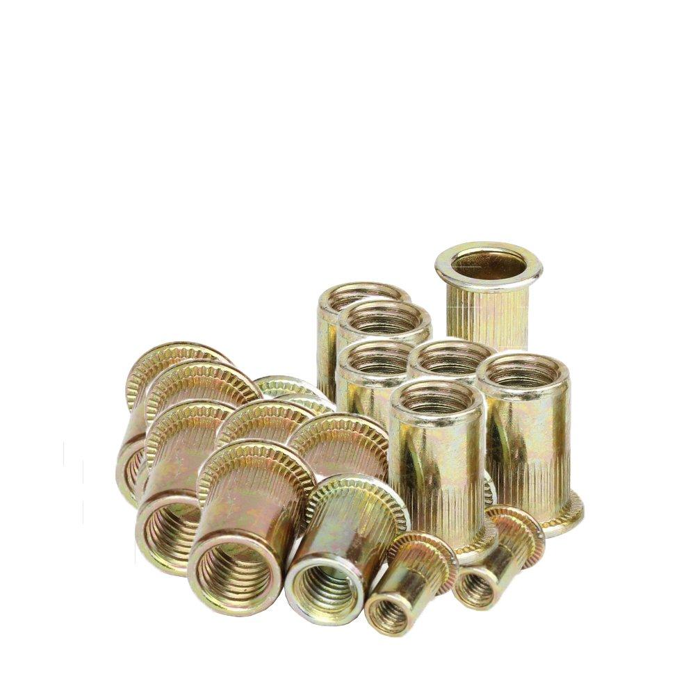 HIFROM 5 Type 100 Pieces Zinc Plated Carbon Steel Rivet Nut Insert Nutsert #8-32, 10-24, 1/4-20, 5/16-18, 3/8-16 Flat Head Assortment Kits