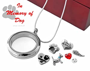 IN MEMORY OF DOG Floating Glass Locket DETACHABLE Key Chain Set w/ Charms