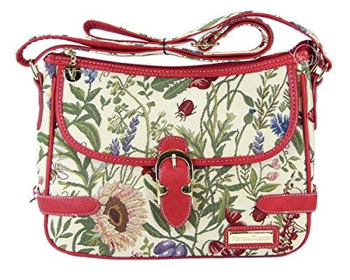 Bolso bandolera Jessica de la Victoria Tapestry (estilo gobelino) en Flores salvajes