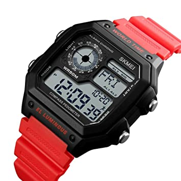 iBàste Hombres al Aire Libre Reloj electrónico Moderno Impermeable podómetro de Aventura brújula Reloj Deportivo (Rojo, Verde Militar, Negro), ...
