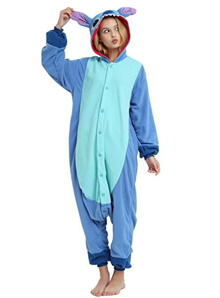 Amazon.com: Es Unico Blue Stitch Onesie Costume for Adult and Teenagers, Halloween Kigurumi Pajama for Lilo & Stitch Character: Clothing