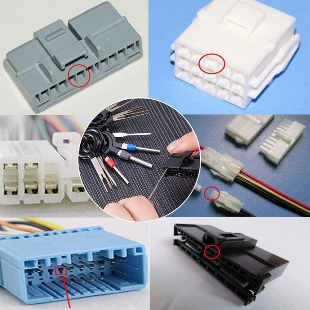 HAJKSDS Outil De Retrait Connecteur avec Outil De D/émontage Audio pour La Plupart des Terminaux De Connexion 36+21 Pcs Outils Voiture