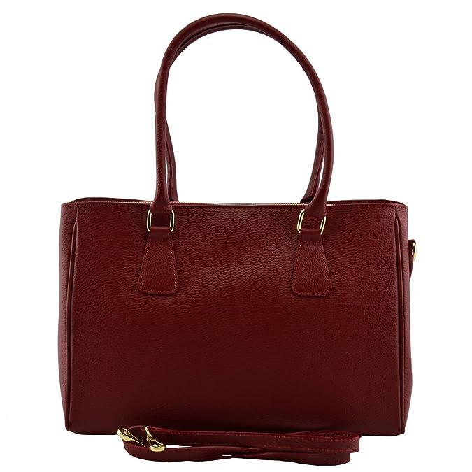 Damen Leder Schultertasche Farbe Bordeaux - Italienische Lederwaren - Damentasche Dream Leather Bags Made in Italy FF5ECQOKzD