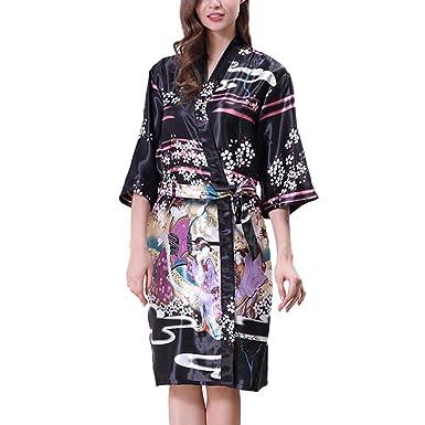 63971302ab Meijunter Girls Women Lightweight Kimono Robe Printed Satin Silk Breathable Ladies  Nightwear Bathrobe Dressing Gown Pajamas