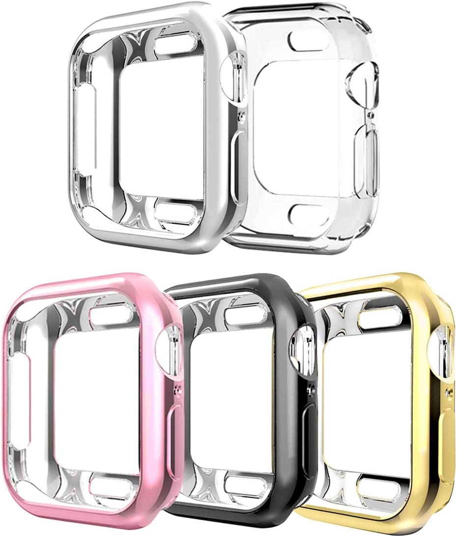 Compatible with Apple Watch SE Case Series 6 Series 5 Series 4 40mm,5 Pack New iWatch TPU Cases Protective Cover Bumper Compatible with Apple Watch SE Series 6 Series 5 Series 4 (40mm-5Pack)