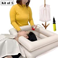 Lavabo inflable de lavado de cabello en la