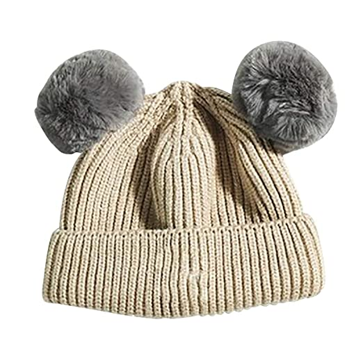 3c05f46867c Image Unavailable. Image not available for. Color  HEART SPEAKER Baby Boy Girl  Winter Outdoor Warm Knitted Double Pompom Beanie Cap ...