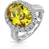 Bling Jewelry 925 Sterling Silver Oval 6 Carat Canary Yellow CZ Engagement Ring