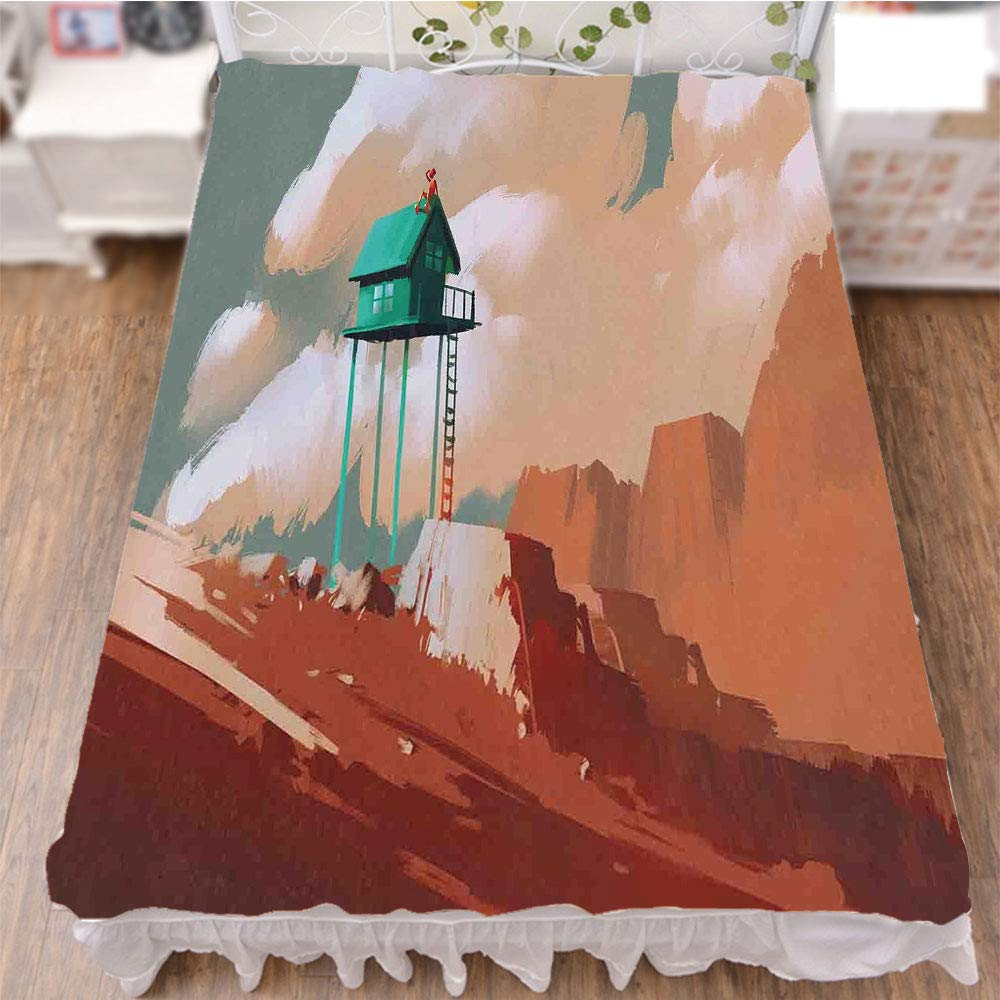 iPrint Bed Skirt Cover 3D Print,Wood House on Stone Hill with Boy on The Cloudy,Fashion Personality Customization adds Color to Your Bedroom. by 59''x78.7''