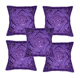 Rajasthali Home Furnishing Decorative Heavy Handmade Embroidered And Mirror Work Indian Cotton Maroon Throw Pillow Cushion Covers 16 X 16 Inches Set Of 5 Pcs