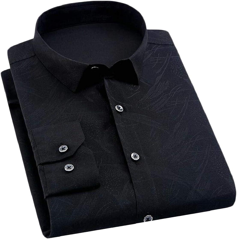 Etecredpow Men Print Lapel Fashion Workwear Long Sleeve Button Up Shirts