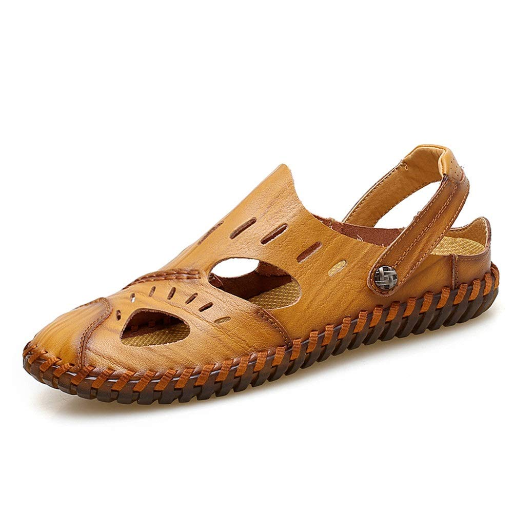 Light Brown Open Toe shoes Sandals for Men's Slippers shoes Style PU Leather Anti-Collision Toe Hollow Dual Purpose