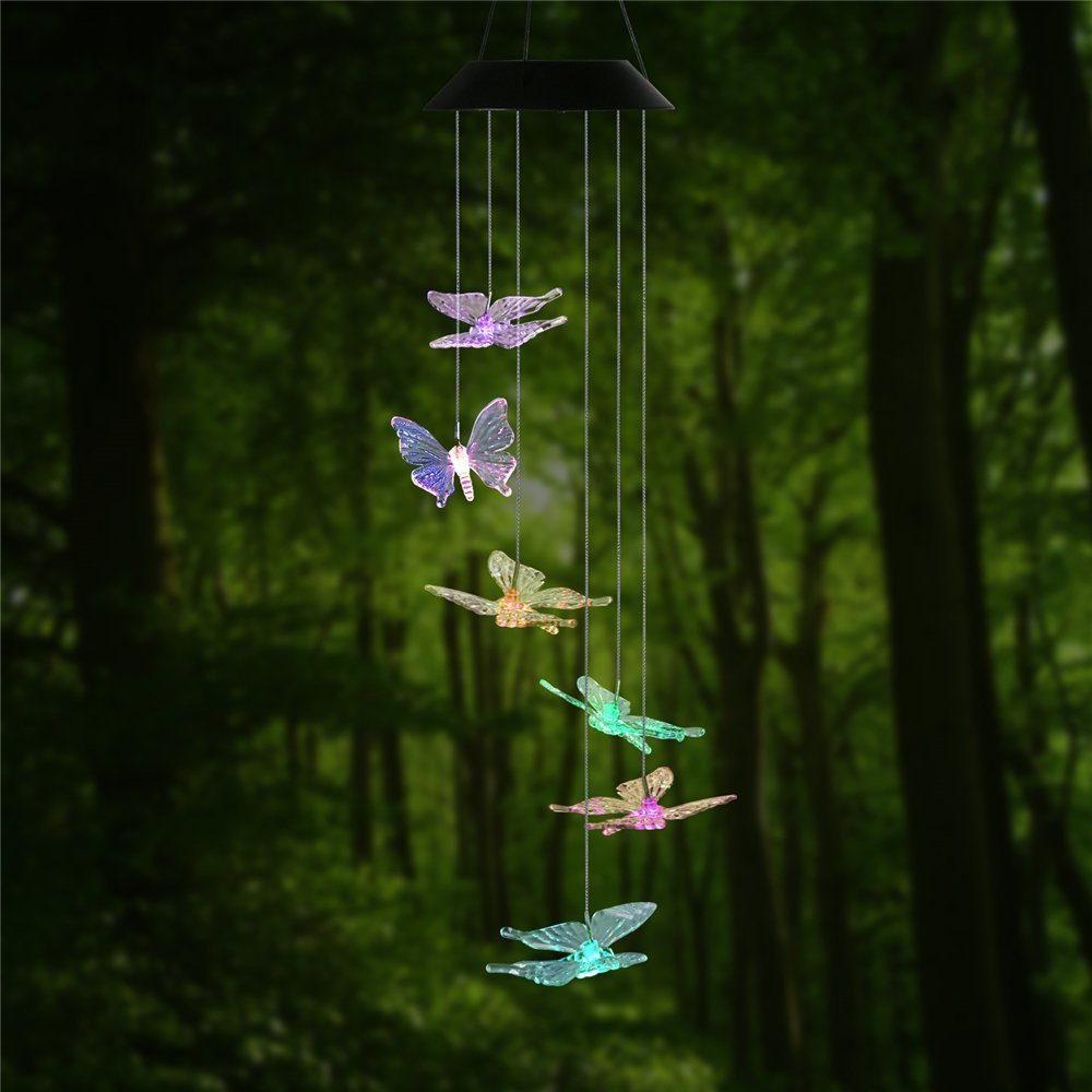 Amazon.com : Changing Color Butterfly Wind Chime, AceList Spiral ...