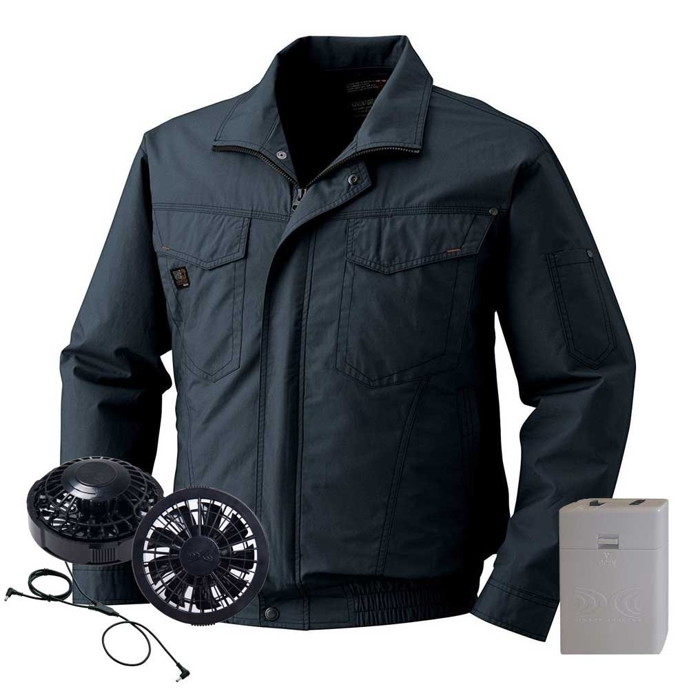 空調服 綿薄手ブルゾン黒ファン電池ボックスセット KU91401 B07DTG33BQ 5L|69チャコール 69チャコール 5L