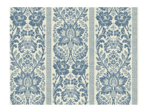 York Wallcoverings French Dressing KC1843 Floral Damask Stripe Wallpaper, French Blue/Soft Ivory