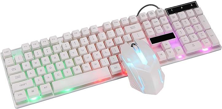 SPGHOME Teclado y ratón inalámbricos, Teclado Iluminado ergonómico LED para Juegos con Teclado y ratón (White)