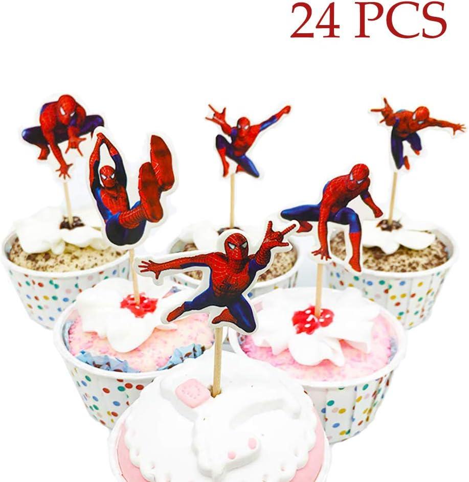 Incredible Amazon Com Spiderman Cupcake Toppers Avengers Superhero Party Funny Birthday Cards Online Elaedamsfinfo