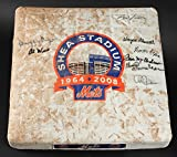 NY METS SHEA STADIUM GAME USED FINAL SEASON BASE SIGNED BY (8) HARRELSON JONES +