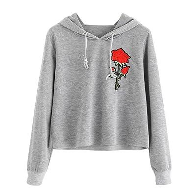 Usstore Women's Tops Casual Sweatshirt Rose Print Hoodies Causal Blouse