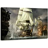 Nautical Decor WW1 Decor First World War Sailboat Warship Vintage Painting Pictures Canvas Prints for Living Room Home…