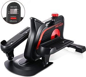 ANCHEER Under Desk Elliptical Trainer for Home & Office, Ellipticals Under Desk Bikes with Built-in Display Monitor & Unlimited Resistance & Smooth Quiet Belt Drive