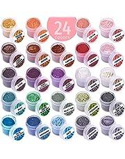 Mica Powder Coloring Pigments - 24 Jars Mica Powder Set - Lip Gloss Pigment - Resin Dying Pigment - Epoxy Resin Dye - Mica Powder for Soap Making