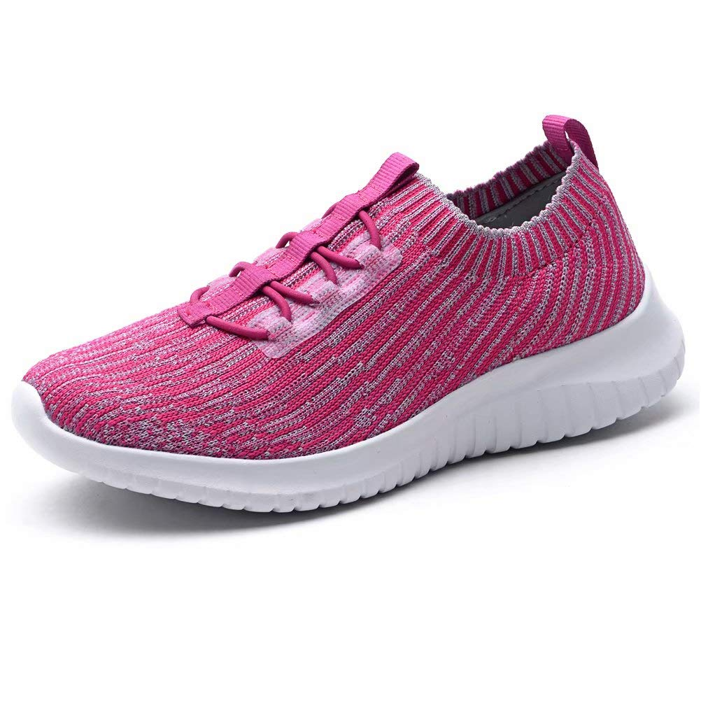 KONHILL Women's Lightweight Athletic Running Shoes Walking Casual Sports Knit Workout Sneakers, Rosy, 39