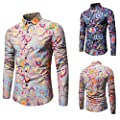Easytoy Fashion Floral Print Dress Shirt Men's Casual Slim Long-Sleeved Printed T Shirt