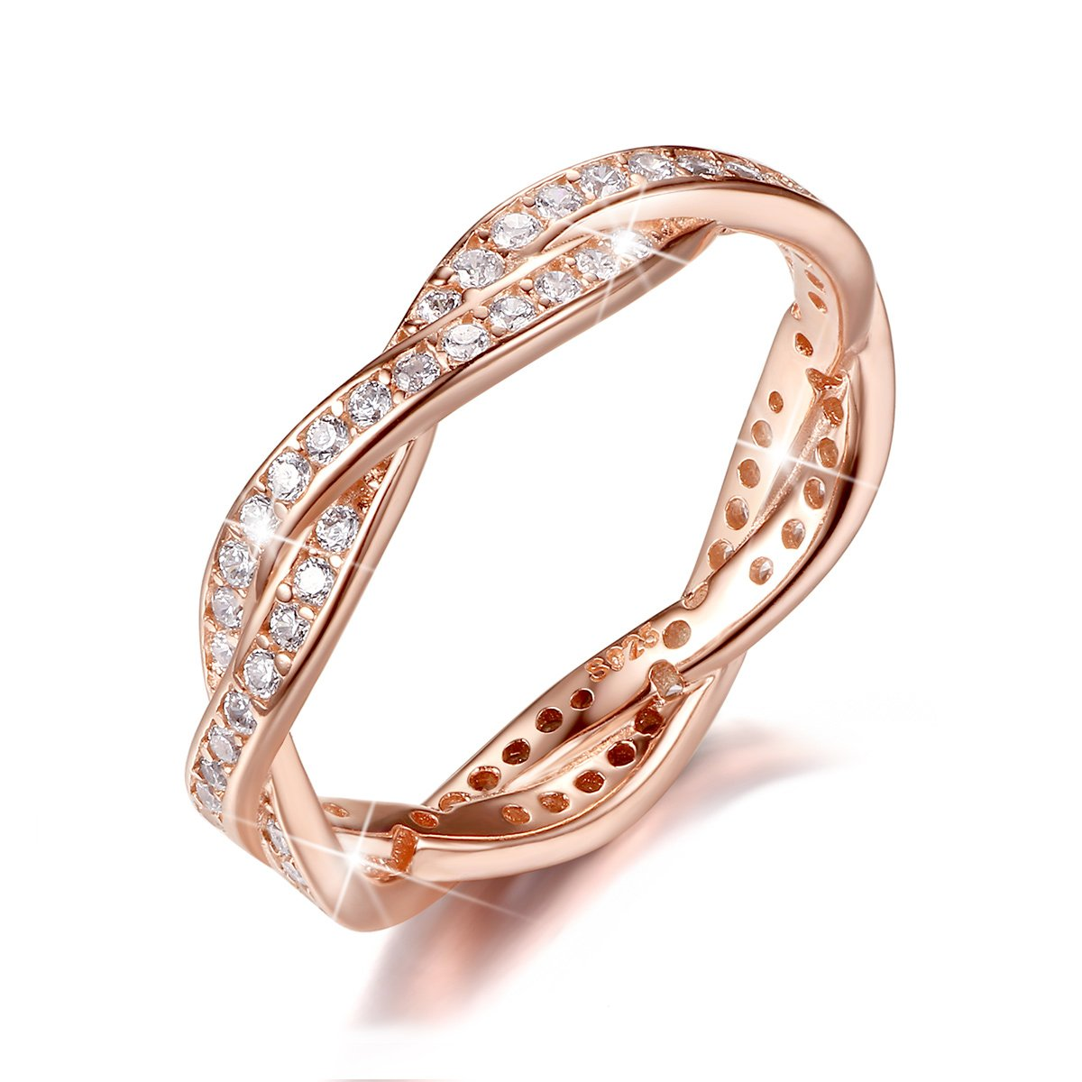 BAMOER Rose Gold Plated Eternity Promise Rings Wedding Jewelry 925 Sterling Silver with CZ,Size 10