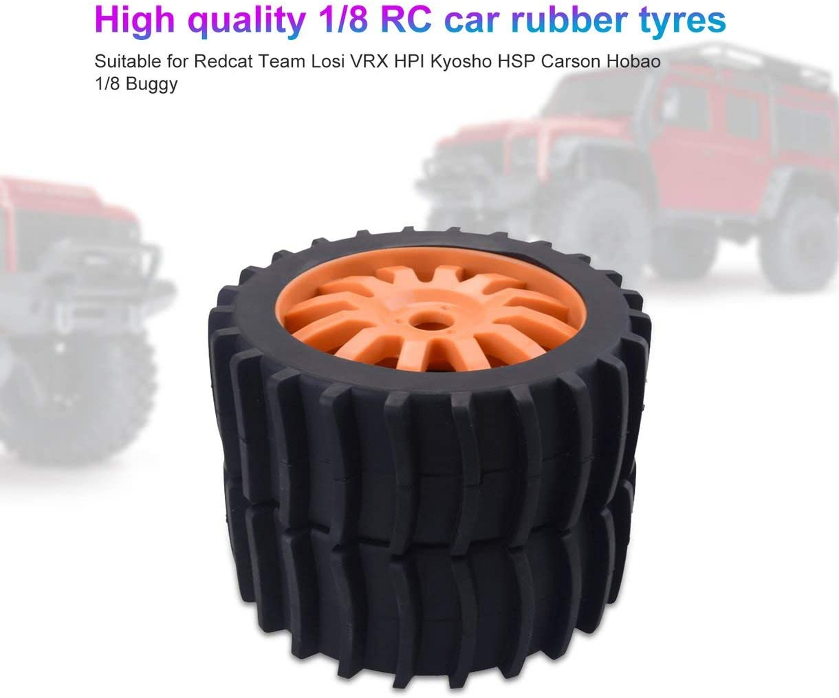 2PCS 1//8 RC Car Snow Sand Paddle Tires Rubber Tyres Wheels for Redcat Team Losi VRX HPI Kyosho HSP Carson Hobao 1//8 Buggy