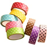 Koly 8 Pcs DIY Making Cute Cartoon Tape Sticker Paper Dots for Scrapbooking Decoration
