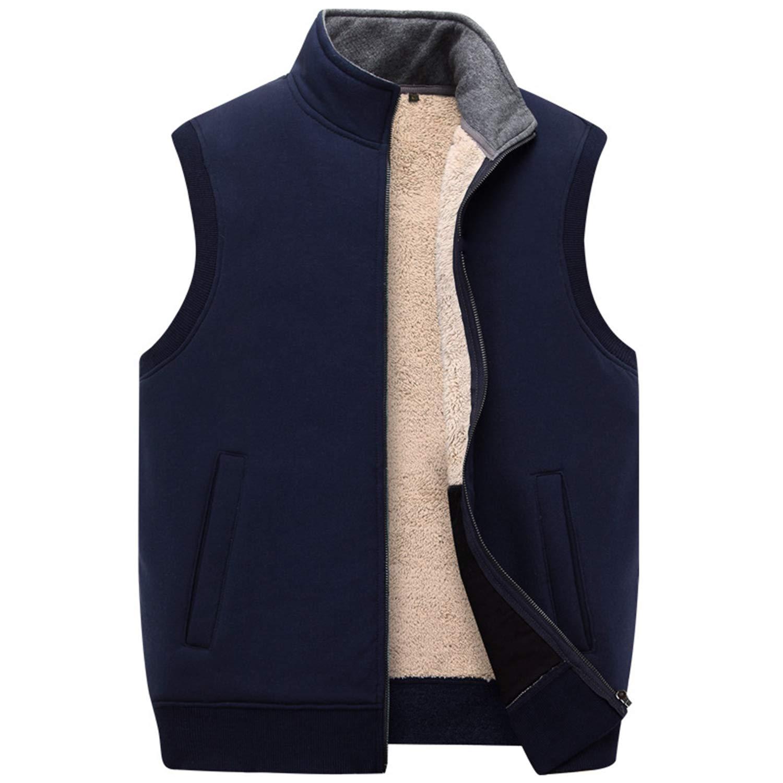 Autumn Winter Thick Cotton Vests Mens Loose Thiced Fleece Vest Waistcoat Plus Size XXXXXL Mens Outerwear Men Coats Tops