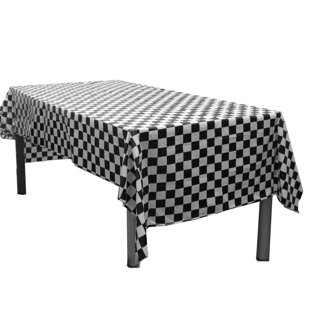 Royal 54 x 108 Plastic Table Cloth Plastic Party Table Cover Reusable Plastic Table Cloth Disposable Rectangular Table Cover Blue Red and Black White Checkers 1 Solid Black White Check