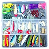 Fishing Lures - TOOGOO(R)100 Fishing Lures Spinners Plugs Spoons Soft Bait Pike Trout Salmon+Box Set