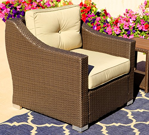 American Patio Modern Outdoor Club Chair Easy Care All Weather Wicker, Espresso, 32.28″ x 31.50″ x 33.47″