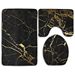 Black Gold Marble Bath Mat Bathroom Carpet Rug Washable Non-Slip 3 Piece Bathroom Mat Set